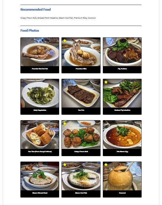 Recommended Food & Food Photos Section